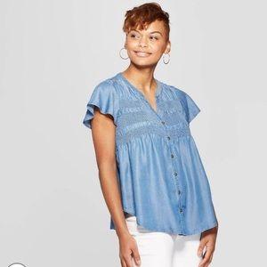 Knox rose short sleeve denim shirt size M